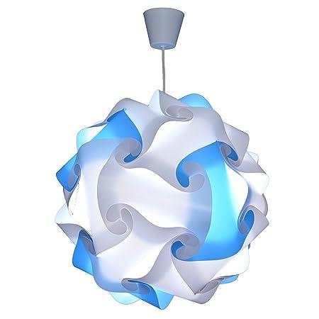 CREATIV LAMP - Suspension Luminaire - Lustre Chambre Prêt à Être Branché   Abat-Jour à Suspendre au Plafond    Pour Décoration Salon, Chambre Enfants, Ado, Adultes - Ø34 cm - Mix Bleu