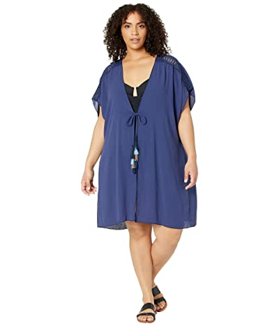 BECCA by Rebecca Virtue Plus Size Globe Trotter Crinkled Rayon Kimono Cover-Up (Navy) Women