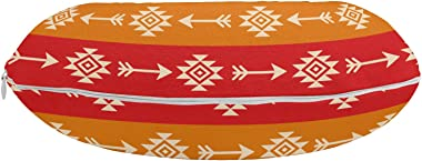 "Ambesonne Aztec Travel Pillow Neck Rest, Ethnic Ornamental Colorful Direction Pointers Pattern Horizontal Composition, Memory Foam Traveling Accessory for Airplane and Car, 12"", Multicolor"