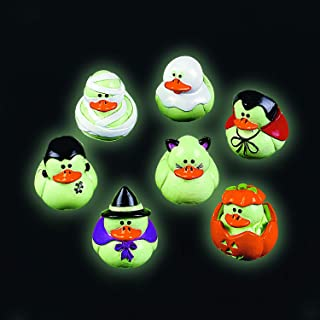 Fun Express Mini Glow-in-The-Dark Halloween Rubber Duckies - Party and Events