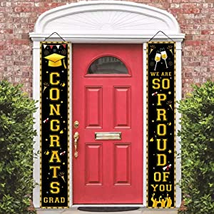 2021 Graduation Door Banners - Graduation Porch Sign Congrats Grad Door Sign So Proud of You Banner Graduation Welcome Hanging Banner for Indoor Outdoor Grad Party Decorations (Black)