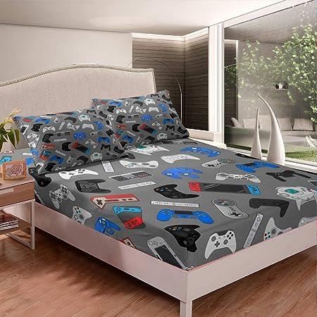 Erosebridal Kids Gamepad Sheet Set Modern Gamer Print Fitted Sheet Video Game Vintage Style Bedding Set for Boys Teens Yellow and Black Bed Cover Bedroom Decor Full Size