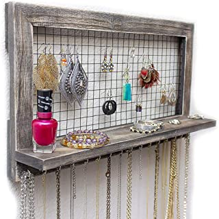 ASfairy Rustic Jewelry Organizer Wall Mounted from Wooden Wall Mount Holder for Earrings, Necklaces, Bracelets, and Many Other Accessories, 17.5x10inch