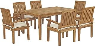 Modway EEI-3292-NAT-WHI-SET Marina Premium Grade A Teak Wood 7-Piece Outdoor Patio Dining Furniture Set, Six Armchairs/One Table, Natural White