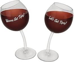 BigMouth Inc Tipsy Wine Glasses, Set of 2 Novelty Wine Glasses, Each Holds 12 Oz, Fun Wine Holder Gift