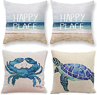 TUOKAY Blue Watercolor Turtle Crab Pillow Cases, Happy Place Pillow Case, Beach Series Decorative Throw Pillow Covers for Condo, Set of 4pcs, Chair/Sofa Size Cushion Covers 18 x 18 inch