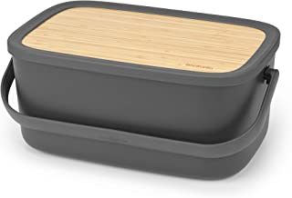 Large Bread Bin with Wooden Serving Board and Handle - Dark Grey