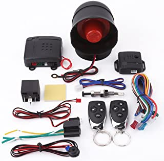 Car Alarm Security Protection System,12V Universal Keyless Entry Burglar Security Alarm Siren with 2 Remote Controls photo