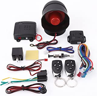 Car Alarm System, Universal Car Alarm Security Protection System Keyless Entry with 2 Remote Controls Siren