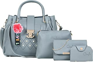Qaafa Women's Synthetic Leather Handbag And Sling Bags Combo Of 4 (QF-26)