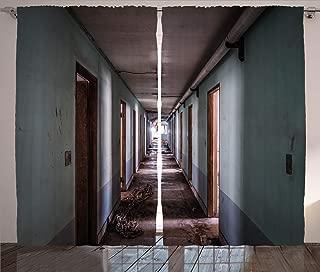 Ambesonne Rustic Curtains, Interior Hallway of a Korean Psychiatric Hospital Asylum Nostalgic Picture Print, Living Room Bedroom Window Drapes 2 Panel Set, 108