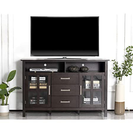 Chadior Tv Stand For Up To 55 Entertainment Center For Flat Screen With Tempered Glass Storage Shelves For Living Room Walnut Furniture Decor