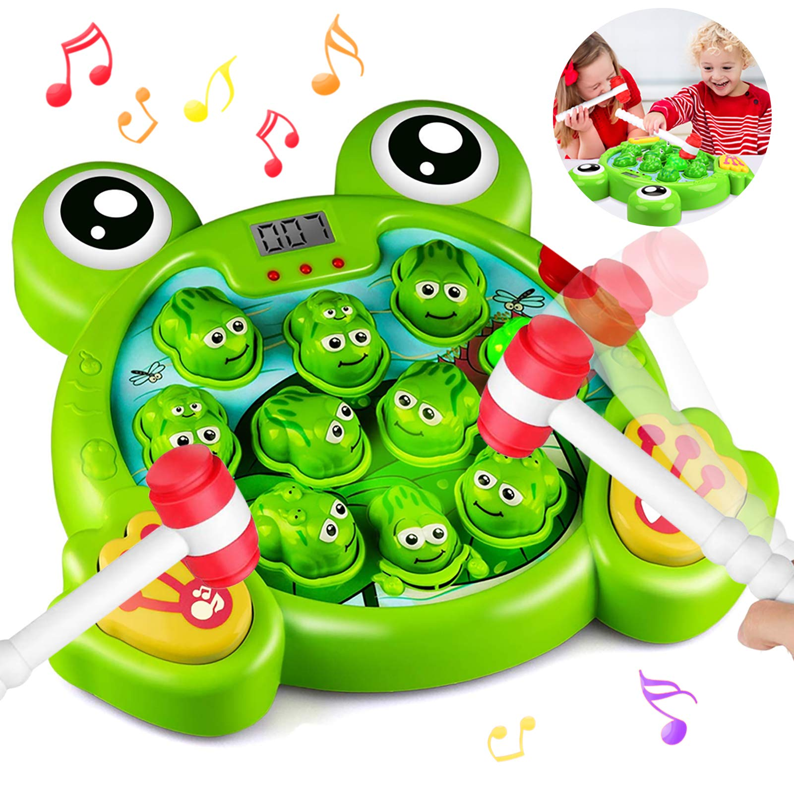 Early Educational Toys for 2 3 4 5 6 7 8 Year Old Boys,Girls,Kids and Toddlers Fun Gifts with Music,Lights Active Learning 2 Soft Hammer HOMOFY Interactive Whack A Frog Game