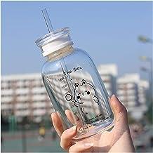 Waterbeker Glazen waterfles met rietje Creative Daisy Frosted/Transparent Cup Lekvrije draagbare drinkfles met een afsluit...