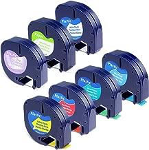 Repalce DYMO LetraTag Label Tape Refills, 91330 16952 91331 91332 91333 91334 91335 Paper/Plastic Combo Set, 1/2 Inch x 13 Feet, Compatible Dymo LetraTag Plus LT-100H LT-100T QX50 Label Maker, 7-Pack