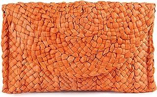 Syrads Damen Stroh Abend Clutch Geldbörse Sommer Strand Handtasche Stroh gewebte Umschlagtasche,Orange