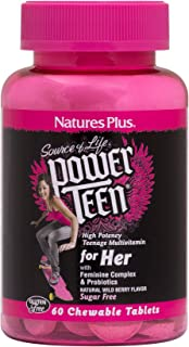 NaturesPlus Power Teen for Her Chewable - 60 Vegetarian Tablets - Wild Berry - High Potency Multivitamin for Young Women -...