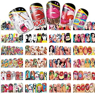 iFancer Nail Stickers Water Transfer Nail Art Decals Trendy Manicure Full Nail Wraps Women Girls Fingers Toes Nail Tattoo Decoration Sexy Girls Lips Pop Movie Stars Pattern Design Nail Art Supplies