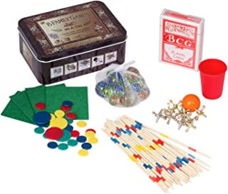 Family Games Box Set – 5 Game Set – Marbles – Playing Cards – Tiddlywinks – Pick Up Sticks – Ball and Jacks – Classic Games Tin Game Box