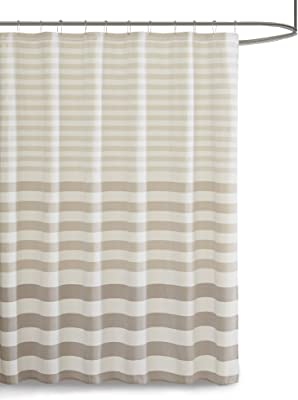 Madison Park Shower, Yarn Dyed Woven Stipe Design Modern Privacy Bath Fabric Curtains, 72x72, Taupe