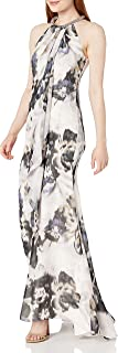 Calvin Klein Women's Halter Neck Gown with Draped Front & Beading