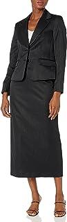 Le Suit Women's 2 Button Notch Collar Shimmer Stripe Column Skirt Suit