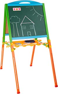 Hey! Play! Two-Sided Kids Easel - Wooden Children's Adjustable Magnetic Chalkboard and Whiteboard A-Frame for Drawing, Math and Writing