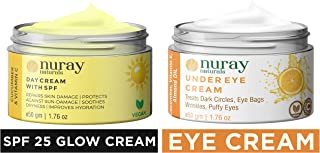 Nuray Naturals Vegan Day Cream with Spf 25 + for Skin Fairness, Whitening, Anti Ageing and Wrinkle G & Vegan Eye Cream for Dark Circles, Under Eyes, Eye Bags and Puffy Eyes, 50 g Combo