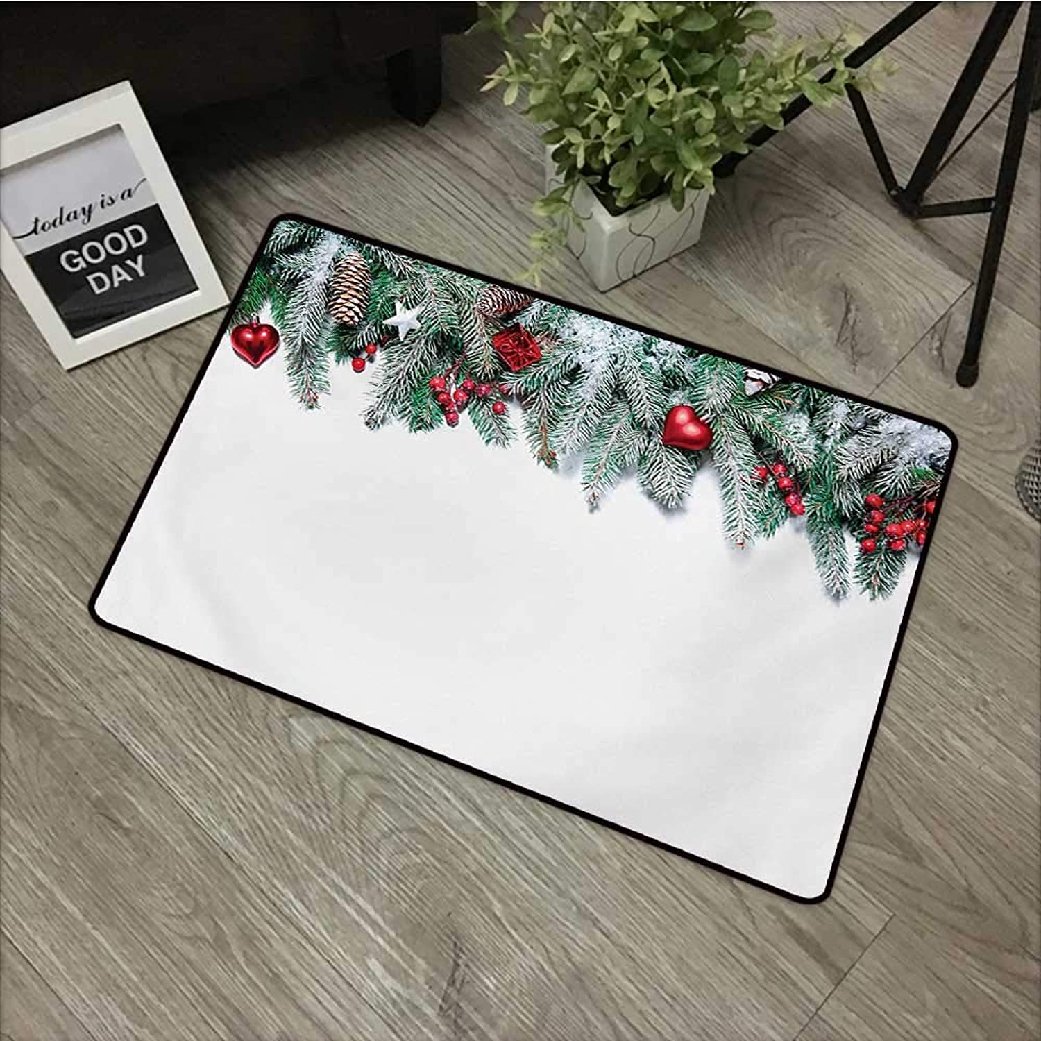 Printed Door mat W35 x L59 INCH Christmas,Snowy Xmas Branch with Vivid Baubles Stars Berries Cones and Mistletoe Yule Image,Green Red with Non-Slip Backing Door Mat Carpet