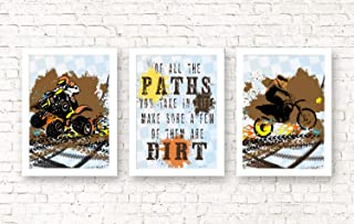 Orange Grey Yellow Dirt Bike Motorcycle ATV Themed Bedroom Room Wall Decor Art Prints