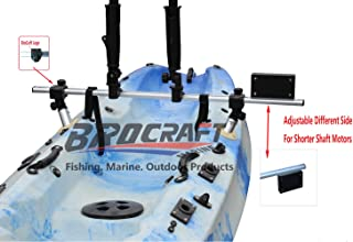 Brocraft Fishing Kayak Trolling Motor Mount Universal + Two Rocket Launching Rod Holder/Kayak Outboard Motor Bracket