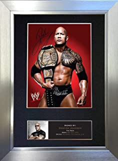 #477 The Rock Dwayne Johnson Signed Autograph Photo Reproduction Print A4 Rare Perfect Birthday (297 x 210mm) (Silver Frame)