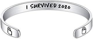 ALoveSoul I Survived 2020 Bracelet - I Survived The 2020 Toilet Paper Crisis, Funny Stainless Steel Bracelet