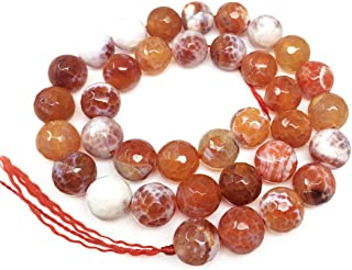 2 Strands Natural Faceted Red Fire Agate Gemstone 6mm Round Loose Stone Beads (~ 116-124pcs total) for Jewelry Craft Makin...