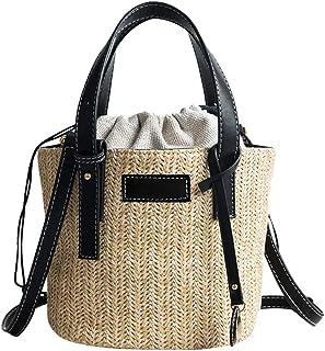 GSERA Frau Strand Gewebte Rattan Tasche Stroh Umhängetasche Damen Handmade Bucket Bag Handtasche