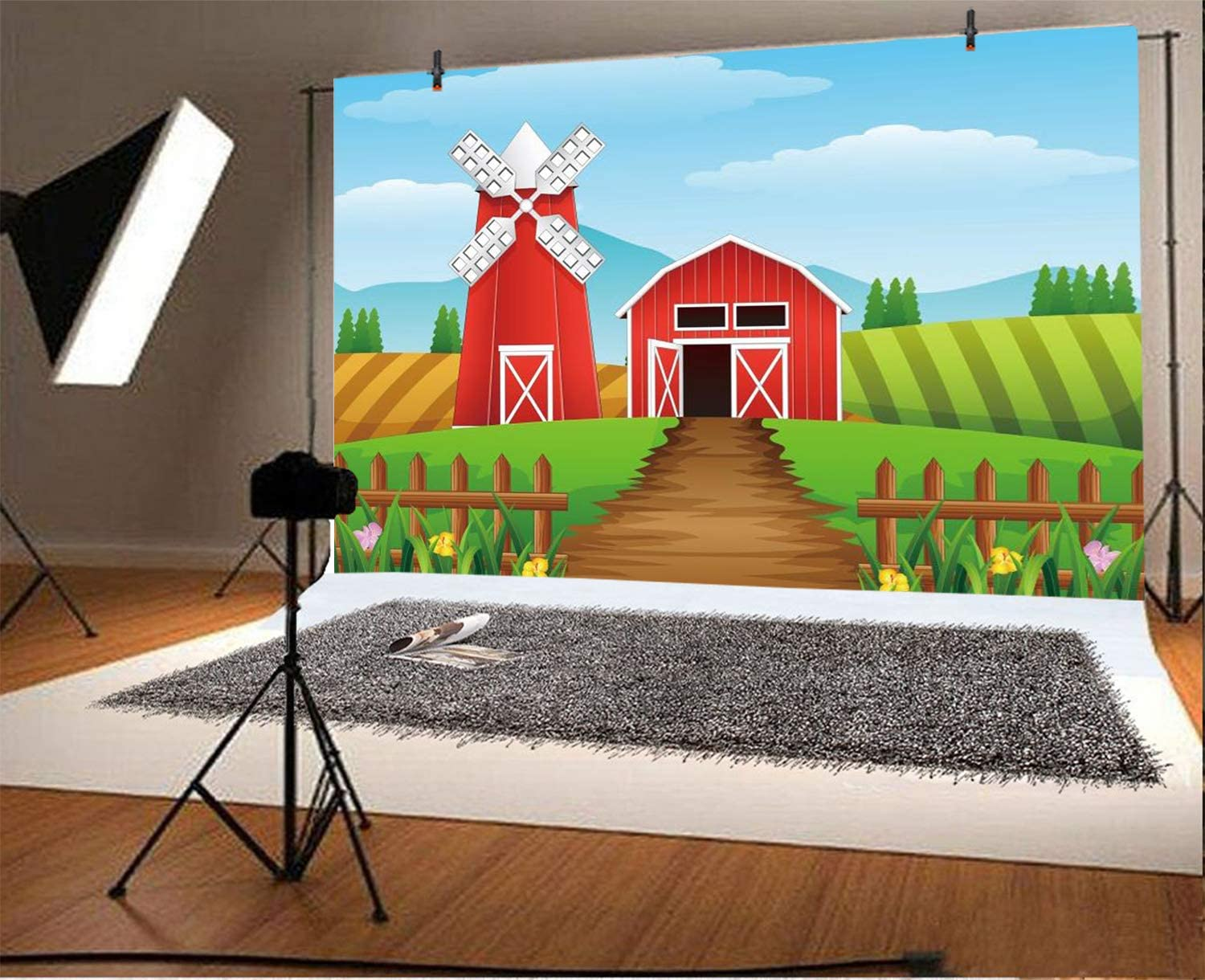 8x10 FT Photography Backdrop Landscape with Traditional Famous Dutch Windmills on Near Canal Photo Background for Kid Baby Boy Girl Artistic Portrait Photo Shoot Studio Props Video Drape Vinyl