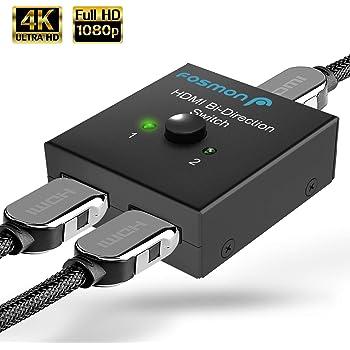 Amazon Com Fosmon 2 Port Hdmi 2 0 Switch 4k 60hz 2x1 1x2 Bi Directional Hdmi Switcher Uhd 4kx2k 3d Hd 1080p Hdcp 2 Input 1 Output Splitter Hub Compatible With Hdtv Ps4 Xbox One