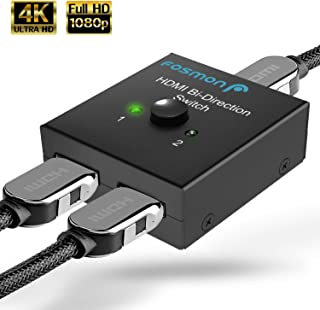 Fosmon 2-Port HDMI 2.0 Switch 4K 60Hz, 2x1 / 1x2 Bi-Directional HDMI Switcher UHD 4Kx2K 3D HD 1080p HDCP, 2 Input 1 Output...