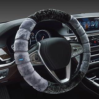 NIKAVI Fur Car Steering Wheel Cover (Grey)