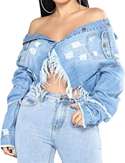 Wofupowga Womens Cut Off Comfortable Button Ripped Long Sleeve Crop Denim Jackets Wathet L