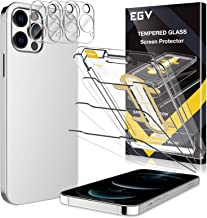 6 Pack EGV 3pcs Screen Protector & 3pcs Camera Lens Protector Compatible with iPhone 12 Pro Max 5G 6.7-inch, 9H Hardness T...