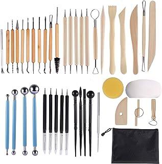 Tallgoo 43pcs Outil de Poterie Sculpture Argile Burin Modelage,Kit d'outils poterie avec Sac de Rangement pour Céramique,A...