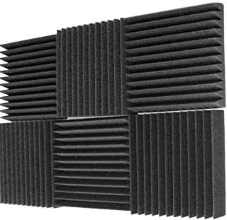 "Mybecca 6 Pack Acoustic Foam Wedge 2"" X 12"" X 12"" Studio Soundproofing Panels (6 Square Feet), Charcoal"