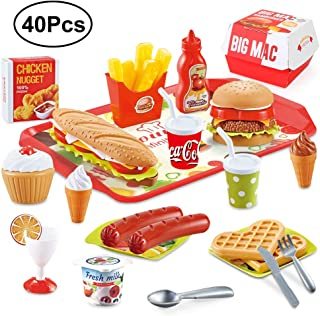 Beebeerun Play Food Toys, Pretend Play Kitchen Set, Hamburger French Fries Variety Toys Gift for Kid ,Toddlers Pretend Food Playset Children Toy Food Set