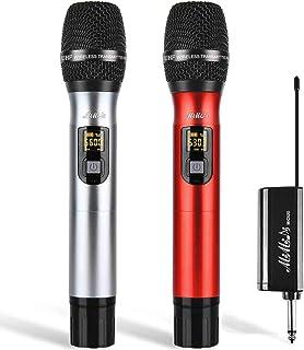 میکروفون های بی سیم - سیستم میکروفون پویا UHF قابل حمل دوگانه با گیرنده قابل شارژ ، میکروفن MIMIDI کارائوکه برای دستگاه آواز ، PA ، بلندگو ، مهمانی ، کلیسا ، استفاده از جلسات ، 260 فوت (MIC520)