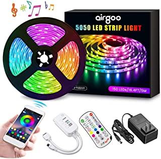 Airgoo LED Strip Lights, 2019 New Version 16.4ft RGB LED Light Strip 5050 LED Flexible Tape Lights, Music Sync Color Changing work with APP and Remote for Home Lighting Kitchen Bed Bar Home Decoration