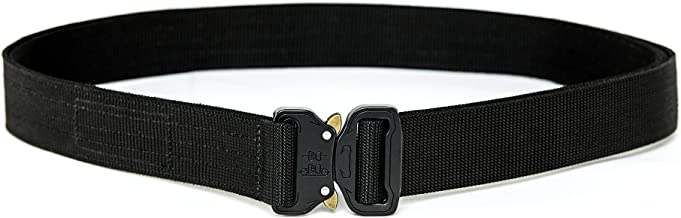 XTAC Quick-Release EDC Belt - Heavy Duty Stiffened 2-Ply Nylon Gun Belt for Concealed Carry CCW Holsters Pouches Military Combat Duty Wilderness Hunting Survival
