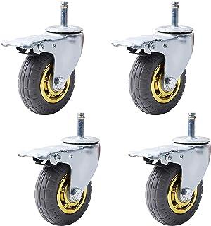 LYQQQQ 5 inch zwenkwielen Heavy Duty 125 mm Rubber Swivel Trolley Meubels Caster Transport Rollers Eetauto's Vervanging Wi...