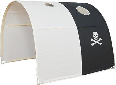 Homestyle4u 1439, Kinder Tunnel Für Hochbett, Pirat, Schwarz Weiß, Baumwolle, 90 cm Breit