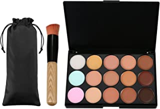 Vtrem 15 Colors Camouflage Concealer Palette Professional Contour Eyeshadow Face Cream Makeup Foundation Kit Combination with Powder Brush for Professional and Daily Use